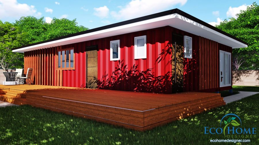 SCH11 3 x 40ft 2 Bedroom Container Home Plans   Eco Home Designer SCH11 3 x 40ft 2 Bedroom Container Home Plans