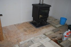 Granite and stones to make fireplace