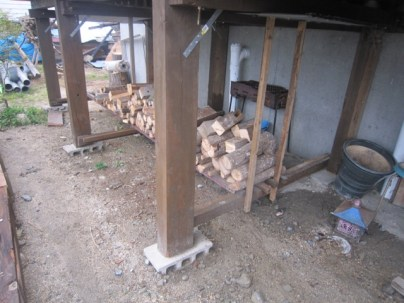 some of the wood used for the frame of a deck