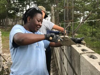 Linda's an expert on making rebar AND building walls!