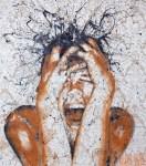 6 Mutation Yūrei - Acrilico su tessuto Damasco - cm.80x70 - 2013 (dipinto con pennelli, mani e piedi).