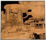 Concorsi - Progetto per il Cimitero di Monza, 1911-12, veduta prospettica