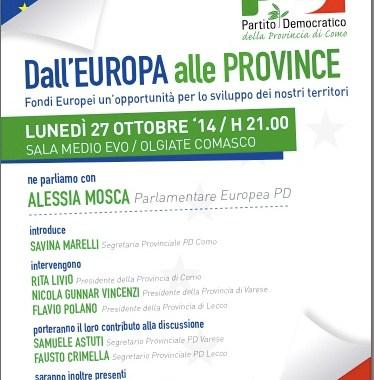 27 ottobre/ Europa, Province e le opportunità offerte dai fondi comunitari