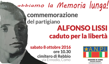 8 ottobre/ Commemoriazione di Alfonso Lissi a Rebbio