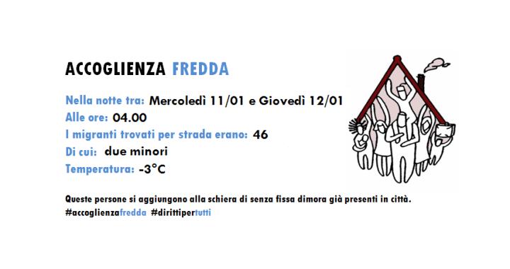 Accoglienza fredda/ I dati delle ronde solidali: 46 persone in strada/ -3 gradi