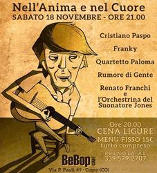 18 novembre/ Al BeBop un omaggio a Fabrizio De Andrè
