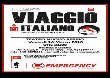 """16 marzo/ """"Viaggio italiano"""": a teatro con Emergency"""