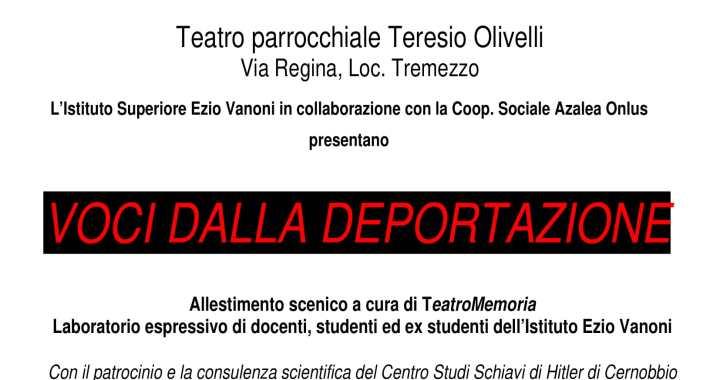 """29 aprile/ Tremezzina/ """"Voci dalla deportazione"""""""