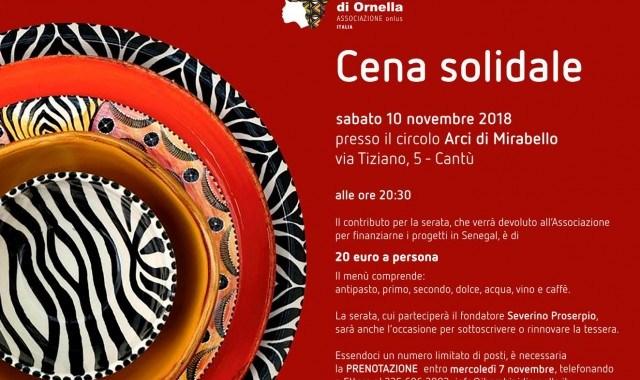 10 novembre/ Cena solidale/ All'Arci di Mirabello con Severino Proserpio per i Bambini di Ornella