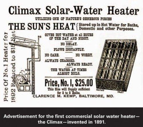 Uno de los primeros calentadores solares de la historia
