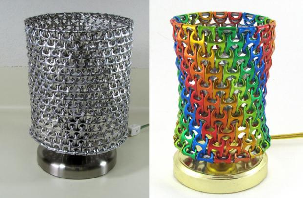lámpara con anillas de latas