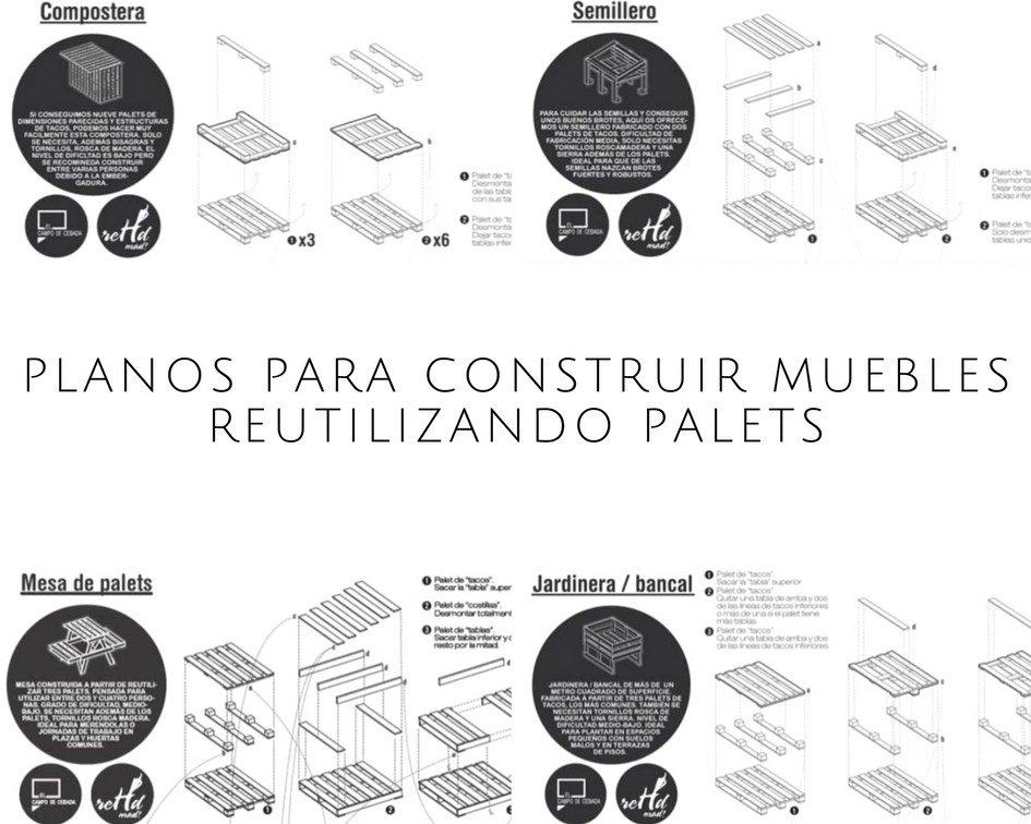 Planos para construir muebles reutilizando palets for Planos de muebles gratis en espanol