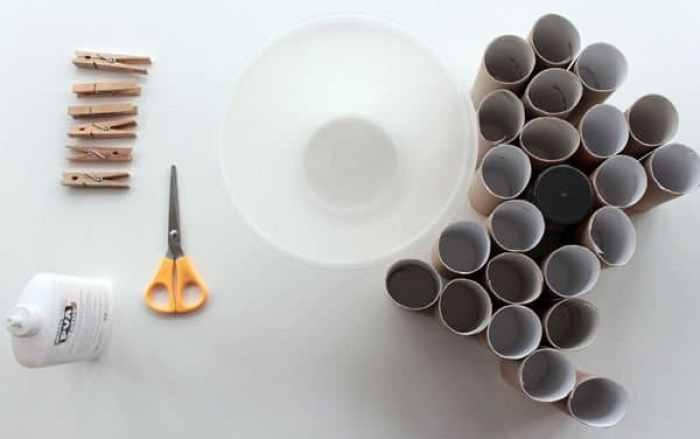 Materiales lámpara con tubos de cartón