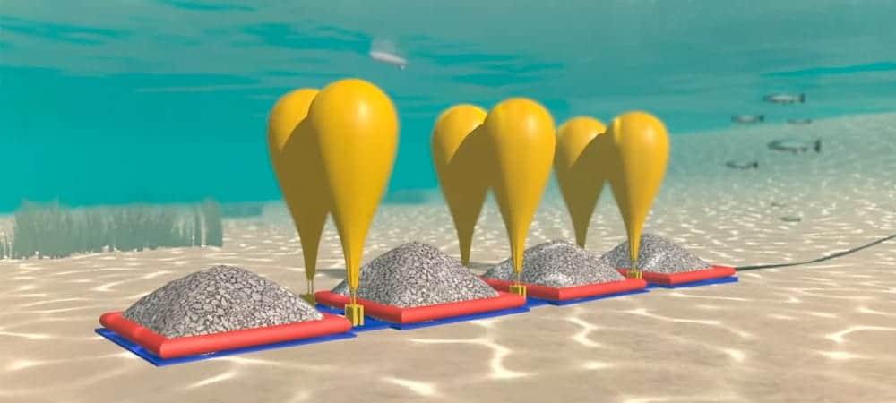 Almacenar energía renovable en globos de aire comprimido bajo el agua