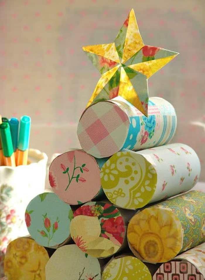 arbol de navidad con rollos de papel1