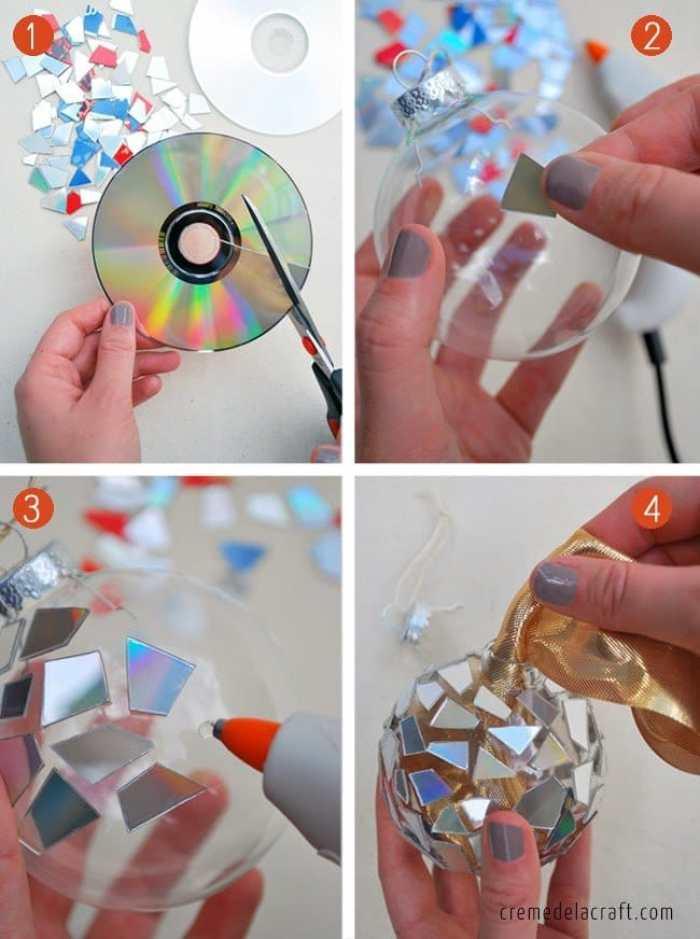 adornos navideños con CDs