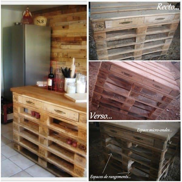 Ideas originales para reusar palets en la cocina - Tarima para cocina ...