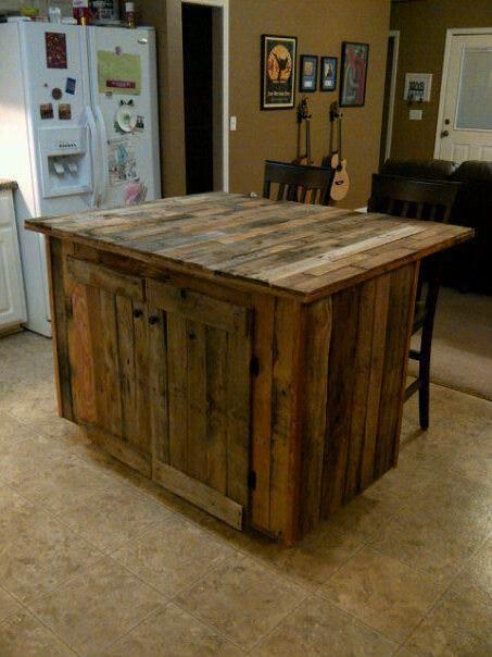 Ideas originales para reusar palets en la cocina - Muebles de cocina hechos con palets ...