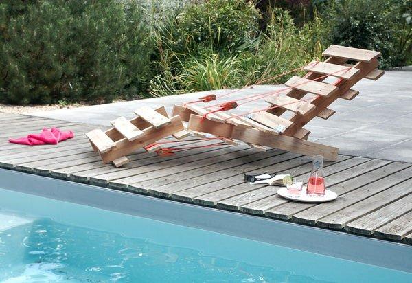 Ideas originales para reusar palets en el jard n for Sillas de piscina