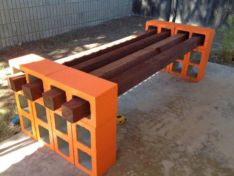 C mo hacer un banco con listones de madera y bloques de - Como hacer un banco de madera ...