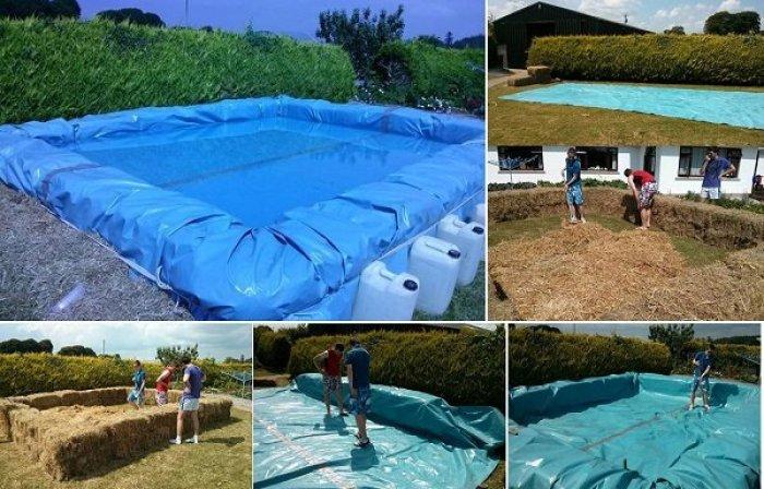 C mo construir una piscina con balas de paja for Como hacer una piscina climatizada