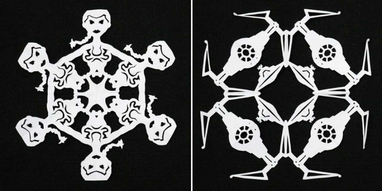 Cómo hacer copos de nieve de Star Wars con papel reciclado