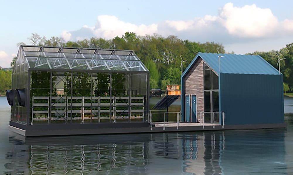Invernadero flotante urbano que produce energía limpia y comida orgánica