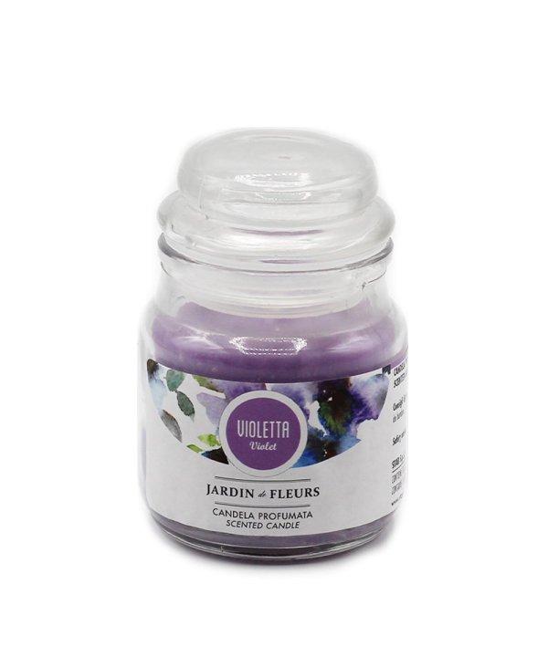 Candela in vetro alla violetta