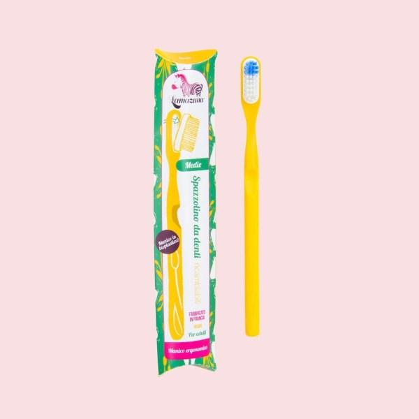 Lamazuna-Spazzolino-in-Bioplastica-con-Testina-Intercambiabile-Giallo-Packaging