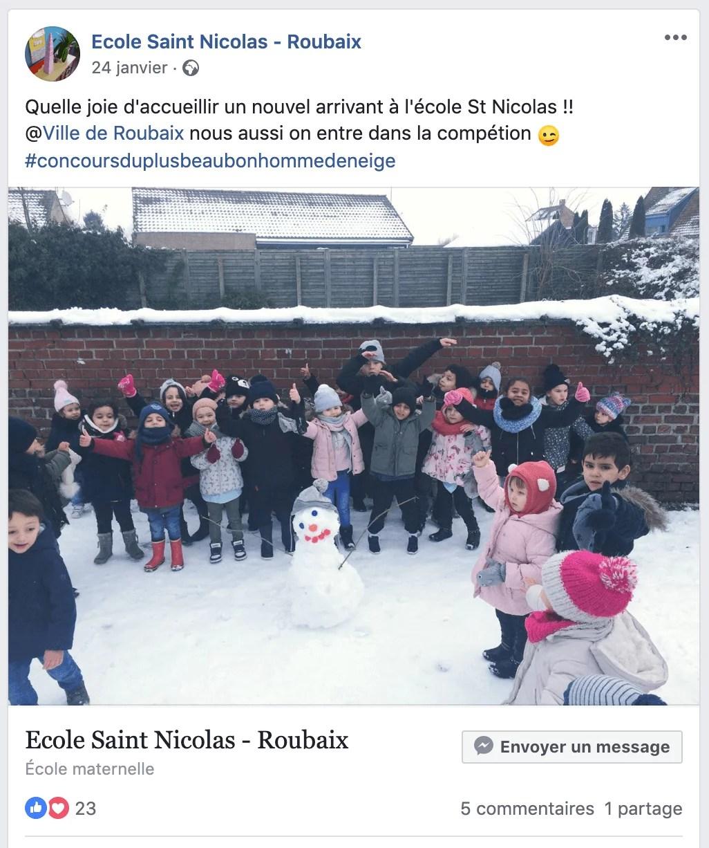 Bonhomme de neige à l'école saint nicolas roubaix - page Facebook