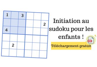 Sudoku à télécharger gratuitement pour s'entrainer au calcul mental et à la logique