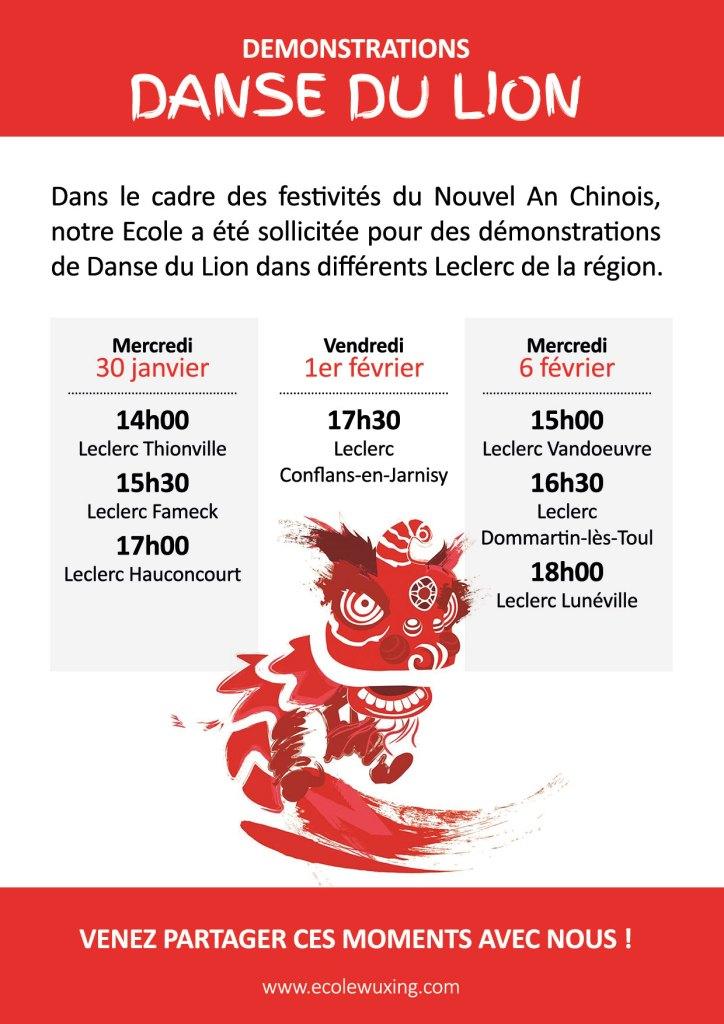 Démonstrations de danse du lion leclerc nouvel an chinois 2019