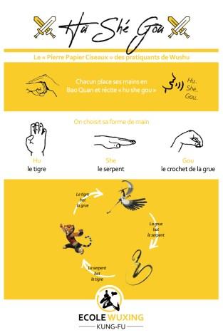 Hu She Gou - variante du jeu pierre feuille ciseaux - ecole wuxing kung fu - wushu online