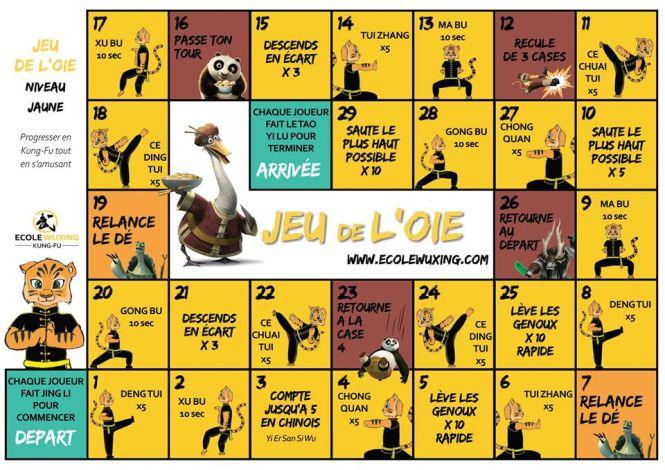 jeu de l oie - niveau jaune wushu - ecole wuxing kung fu