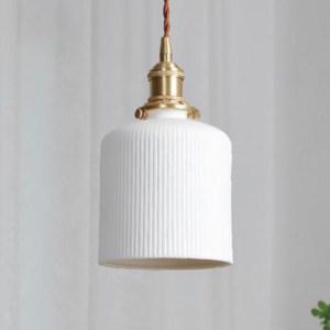 pendant light with white glass on gold finish holder