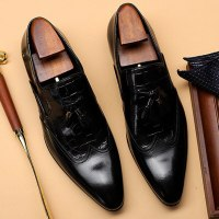 Italian Designer Genuine Leather Man Wingtip Brogues Shoes Pointed Toe Slip on Tassels Men's Formal Wedding Party Loafers SG236