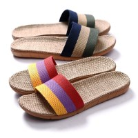 Suihyung Summer Flax Slippers Women Men Casual Linen Slides Multi-style Non-slip EVA Home Slippers Indoor Shoes Female Sandals