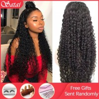 Satai 13x6 Lace Front Wig Curly Human Hair Wig Brazilian Remy Hair Jerry Curl Wig 180 Density Lace Front Human Hair Wigs