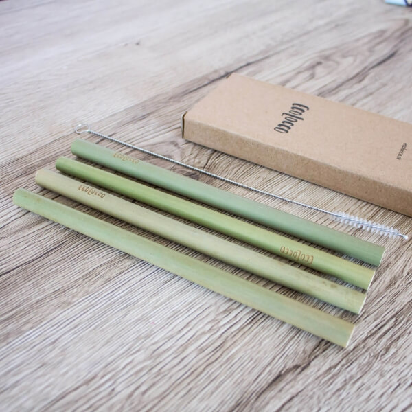 Bambusové slamky –set 4ks s čistiacou kefkou