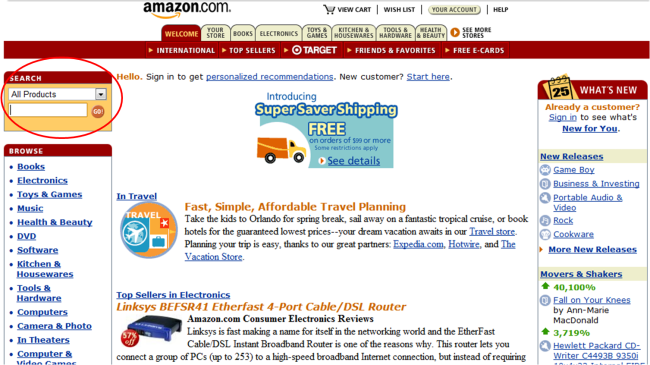 Amazon On-Site Search 2001