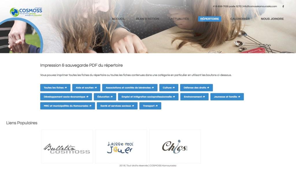 Page d'impression de l'ensemble du répertoire ou des différentes catégories en format PDF.
