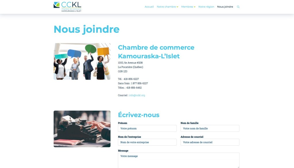 Page Nous joindre
