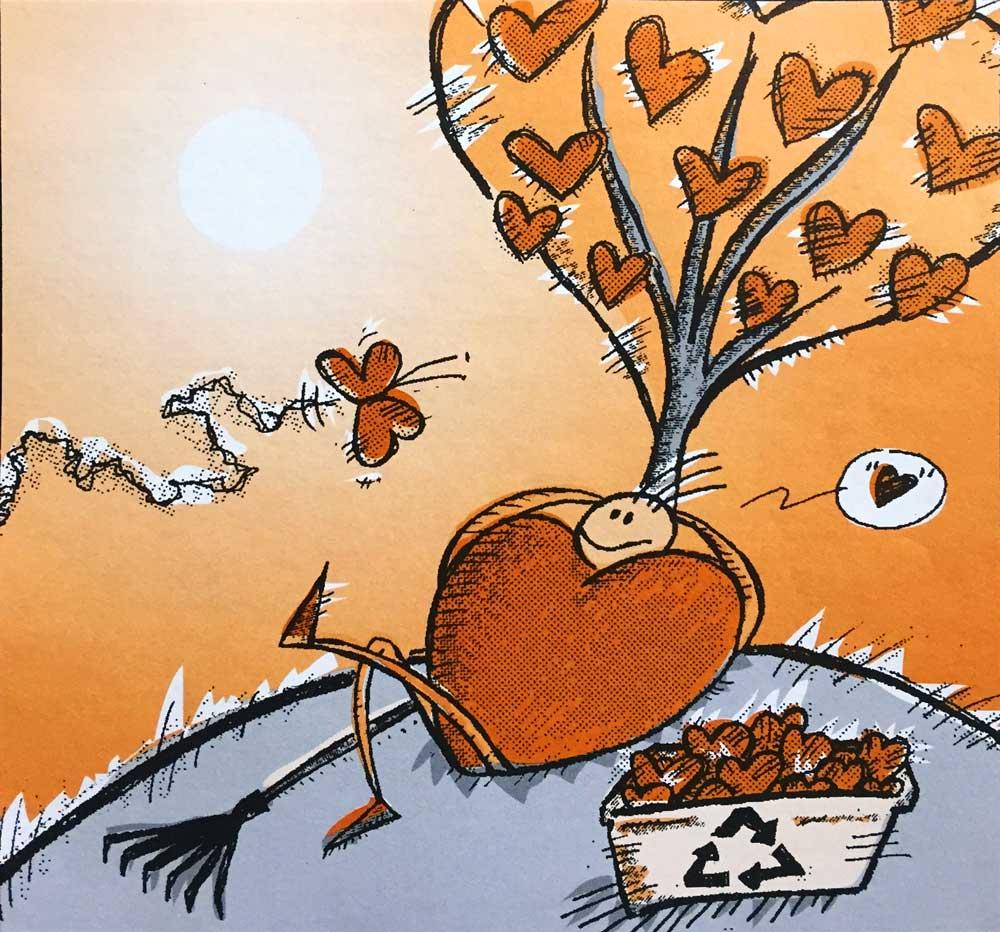 «J'aime le recyclage», illustration éditoriale 2 couleurs