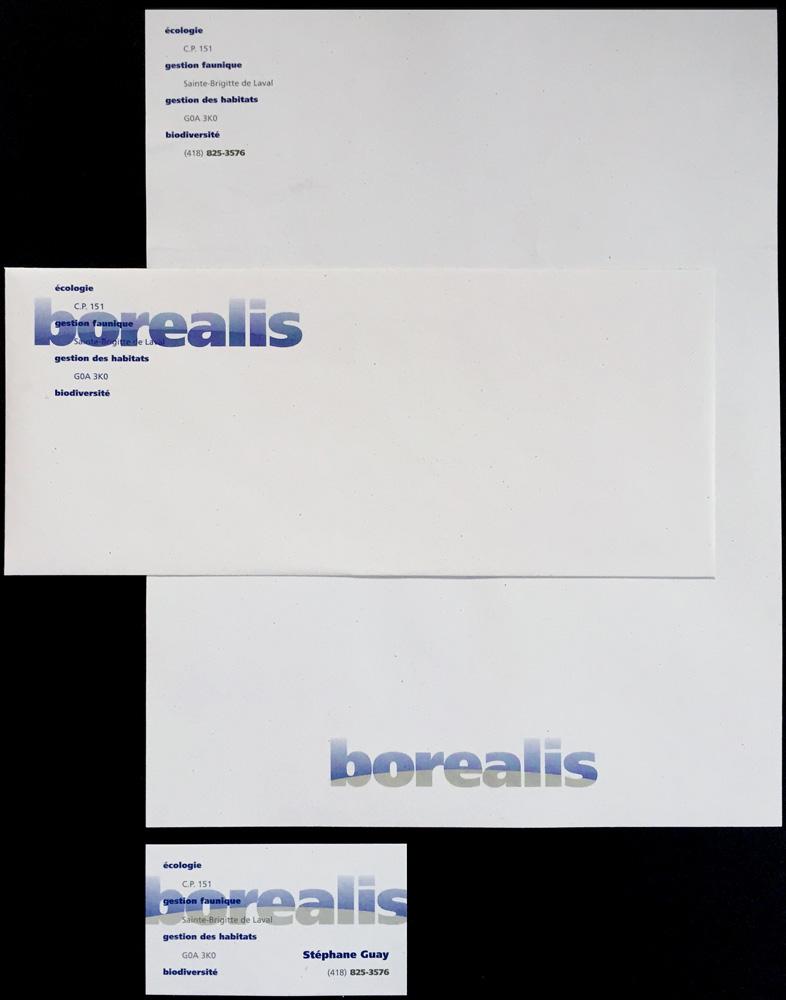 Logo et papeterie de Borealis, une firme de consultants en biologie.