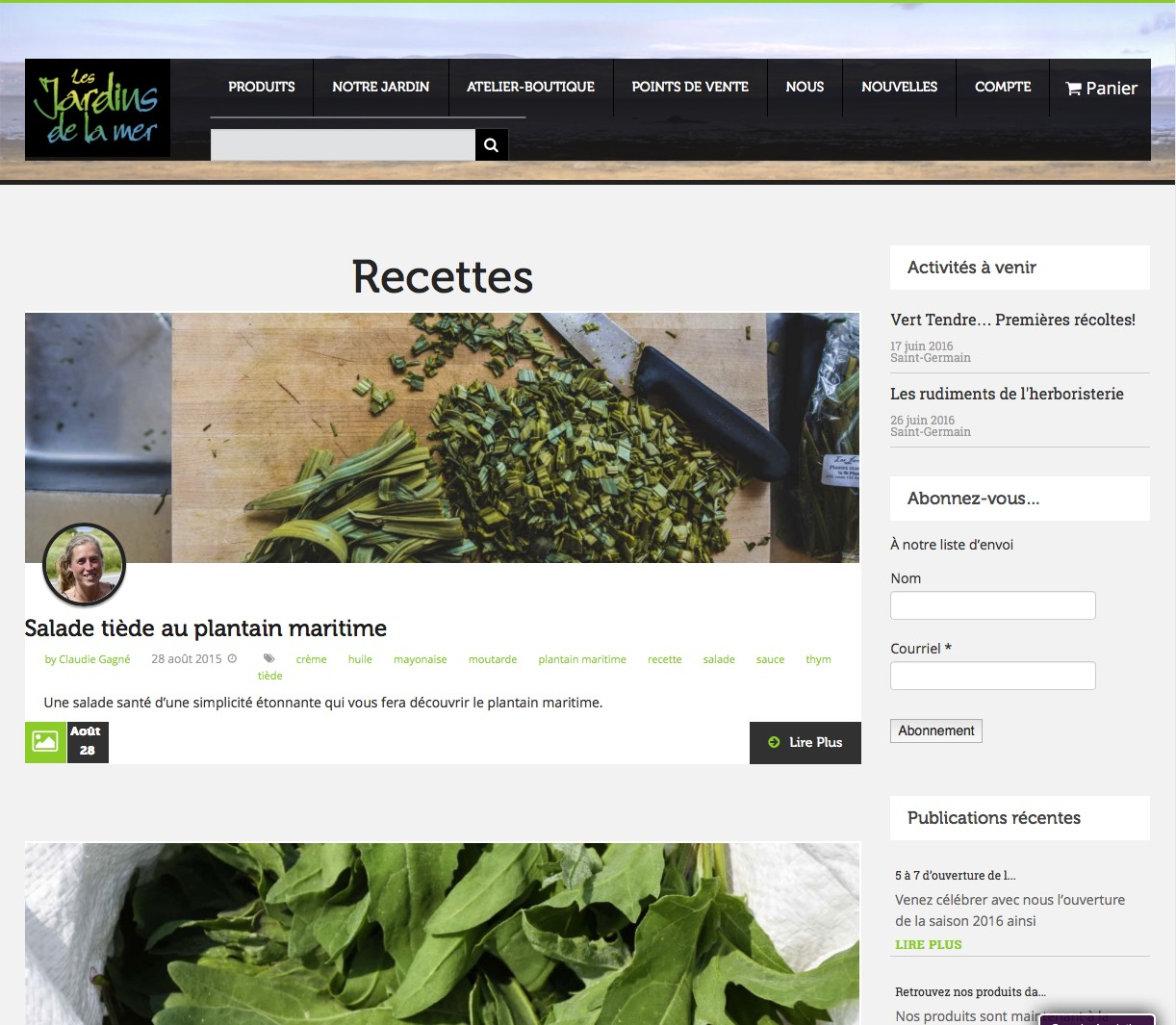 Page de publication de recettes.