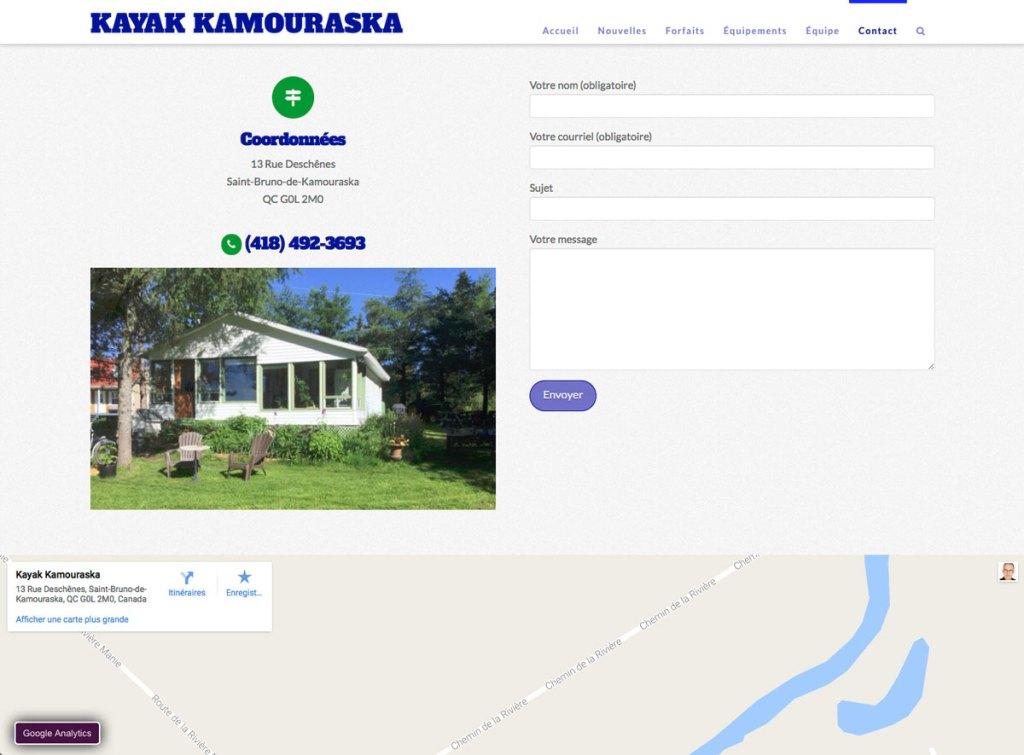 Page contact avec formulaire et carte