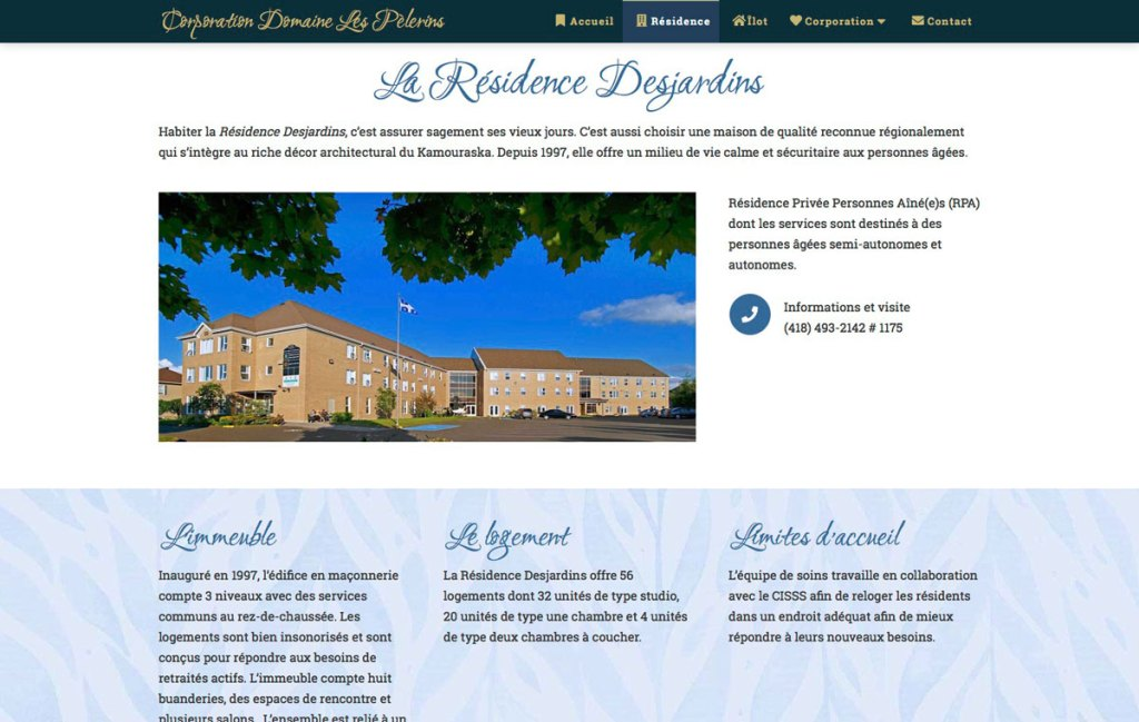 Section de la page Résidence
