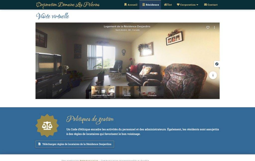 Section de la page Résidence avec visite virtuelle 360 degrés