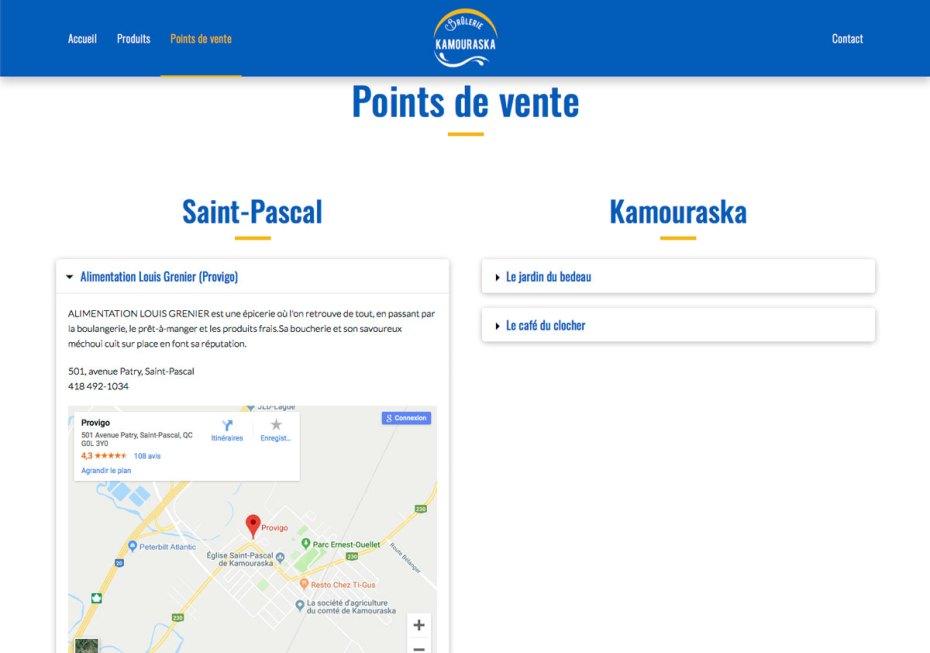 Page Points de vente avec un accordéon ouvert - Site web Brûlerie du Kamouraska