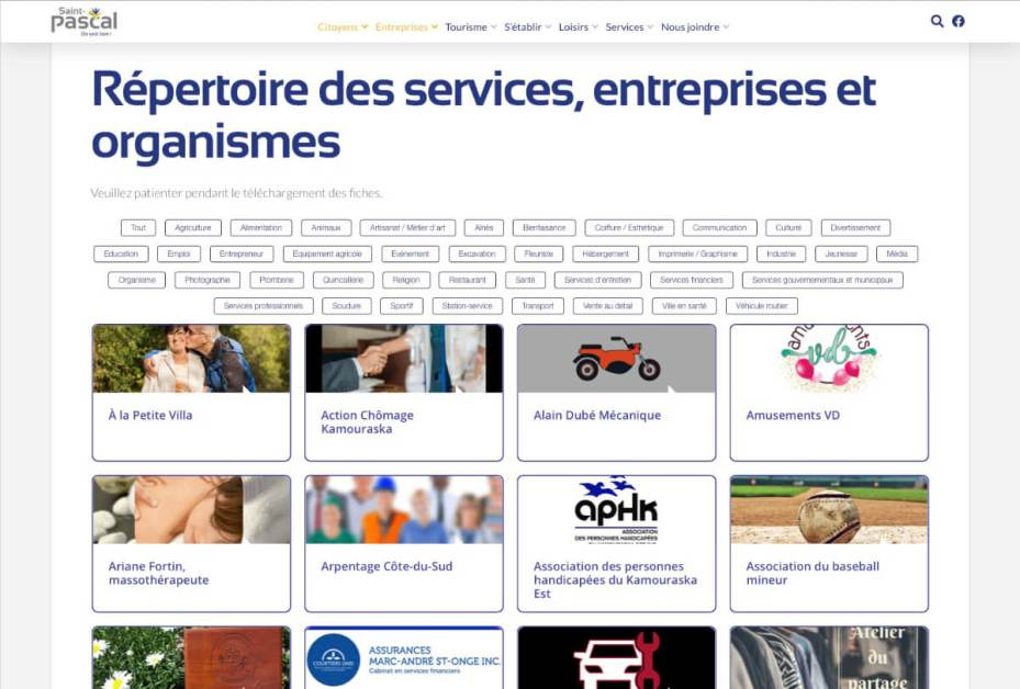 Le répertoire des services, entreprises et organismes